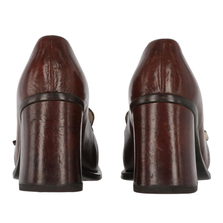 Women's 2000s Miu Miu Leather Heeled Loafers For Sale