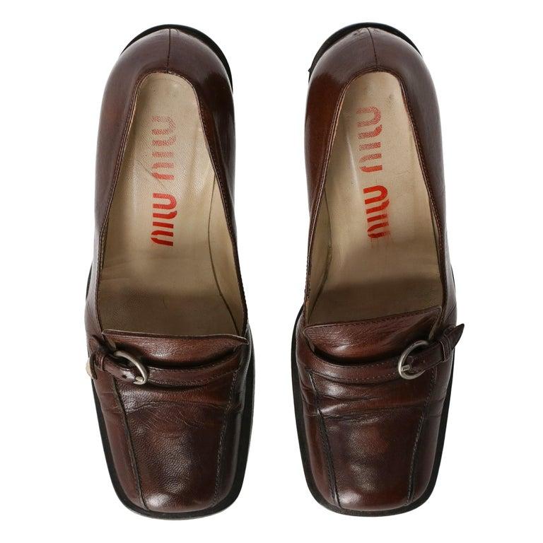 2000s Miu Miu Leather Heeled Loafers For Sale 1