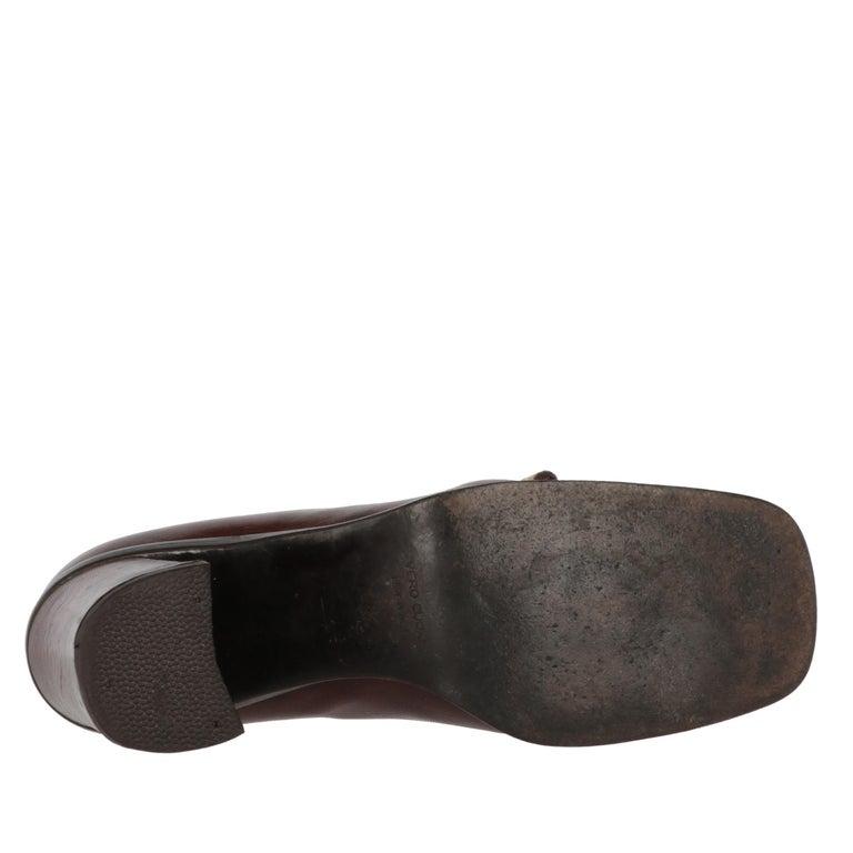 2000s Miu Miu Leather Heeled Loafers For Sale 2