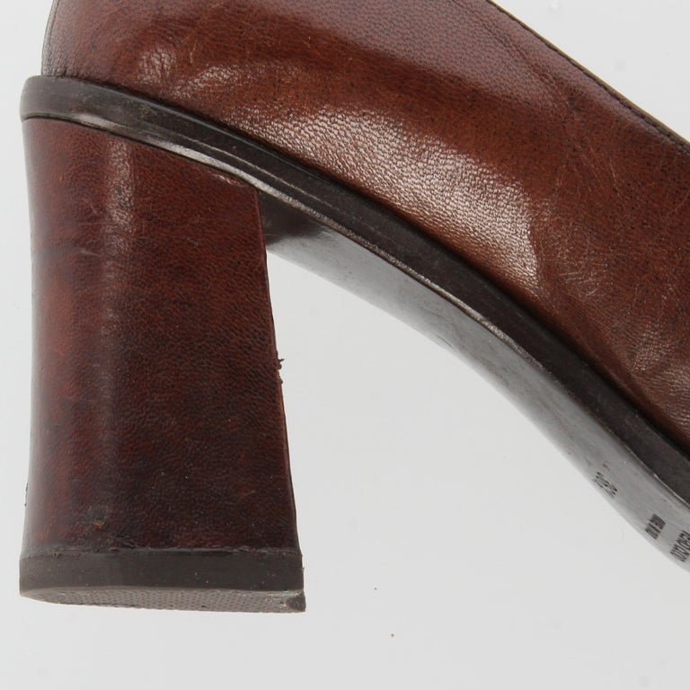 2000s Miu Miu Leather Heeled Loafers For Sale 4