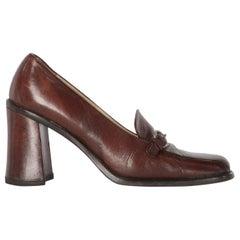 2000s Miu Miu Leather Heeled Loafers