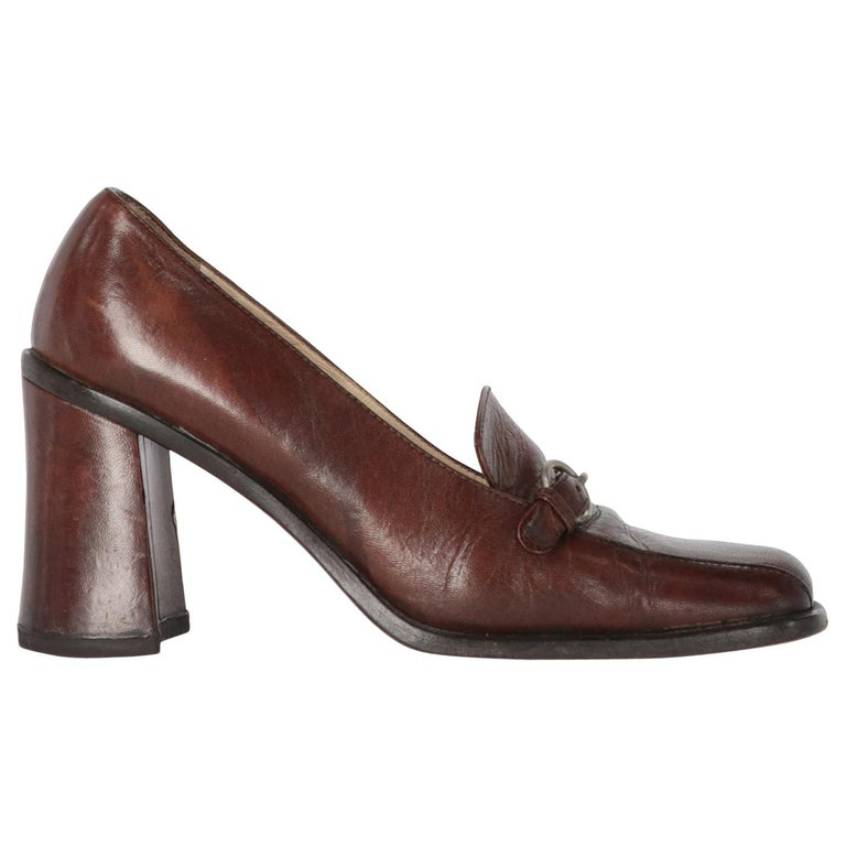 2000s Miu Miu Leather Heeled Loafers For Sale
