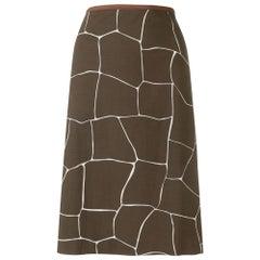 2000s Miu Miu Straight Printed Skirt