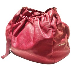 2000s Miu Miu strawberry pink oversizedslouch leather hobo bag