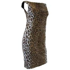 2000s Moschino Cheap & Chic Faux Fur Leopard Print Sheath Dress