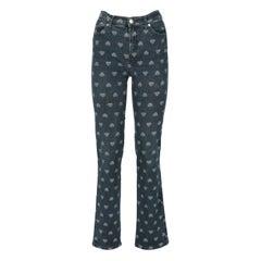 2000s Moschino Heart Pattern Denim Trousers