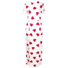 2000s Moschino White Hearts Print Dress