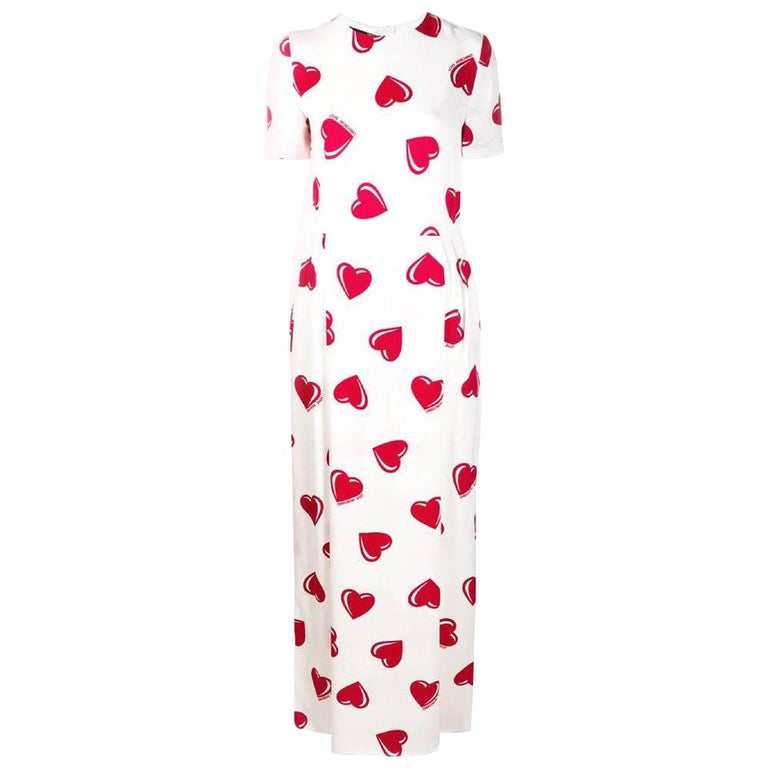 2000s Moschino White Hearts Print Dress
