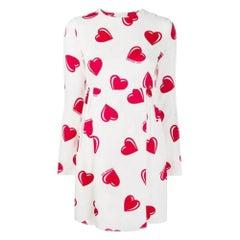 2000s Moschino White Hearts Print Short Dress