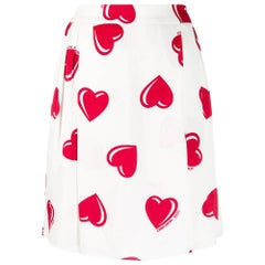 2000s Moschino White Hearts Print Short Skirt