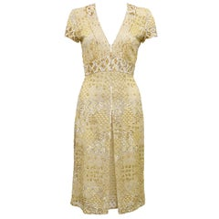 2000s Naeem Khan Gold Sequin, Embroidered and Beaded Cocktail Dress