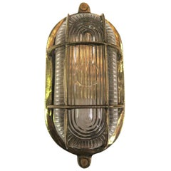 2000s Nautical Brass Oval Caged Flushmount Ship Sconce or Ceiling Light