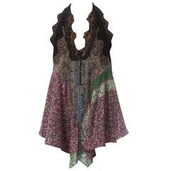 2000S Nicolas Ghesquiere For Balenciaga Floral Silk & Lace Halter Top , Nwt