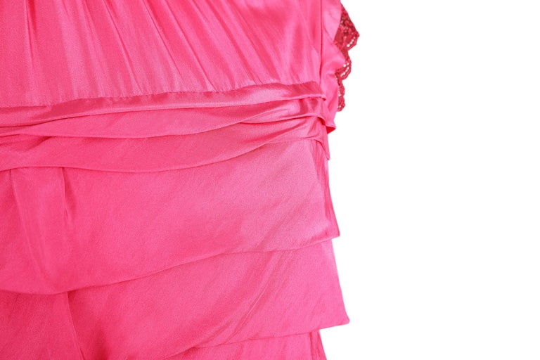 Women's 2000's Nina Ricci Deep Pink Silk Pleated dress With Lace Trim  For Sale