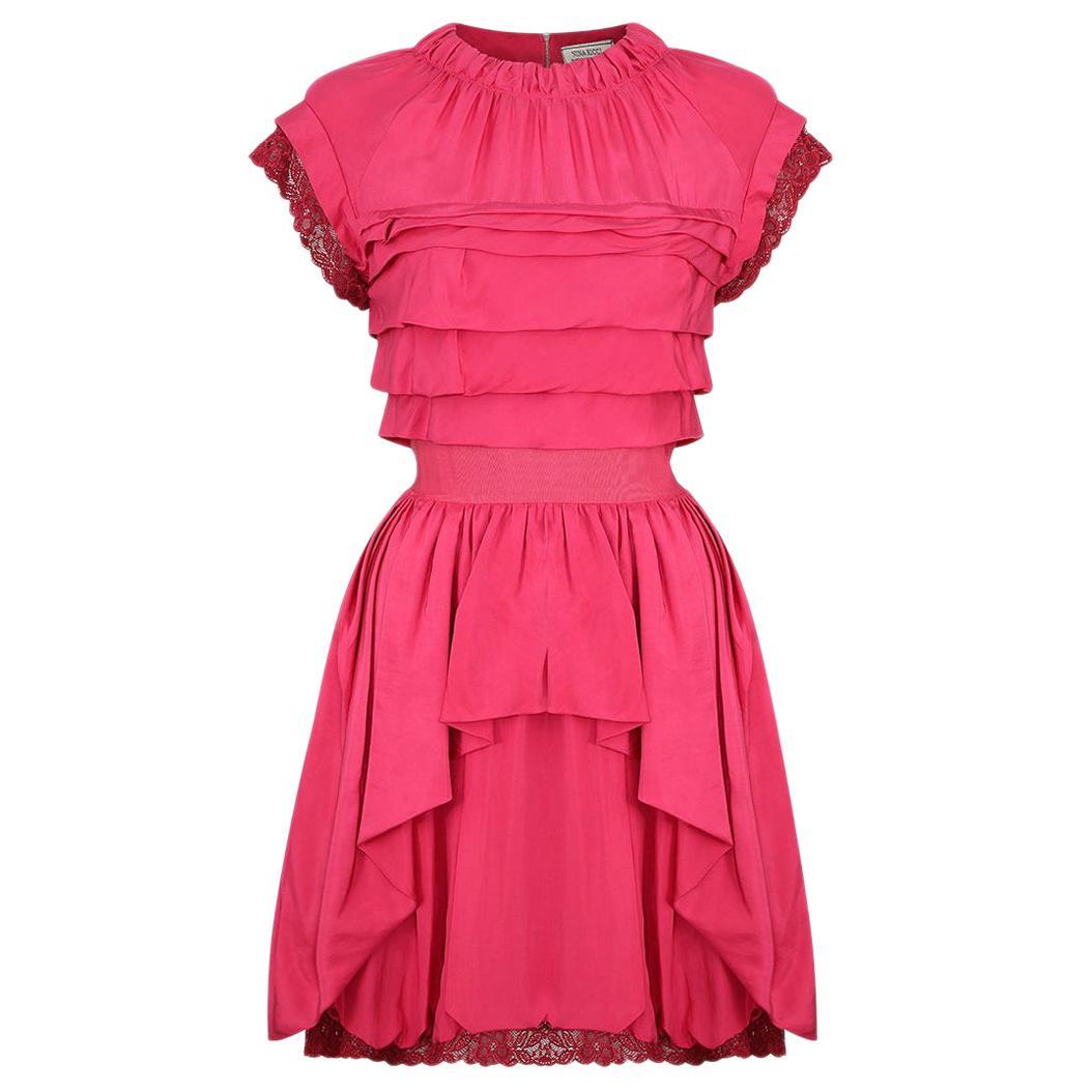 2000's Nina Ricci Deep Pink Silk Pleated dress With Lace Trim