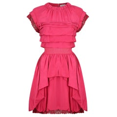 2000's Nina Ricci Deep Pink Silk Pleated dress With Lace Trim
