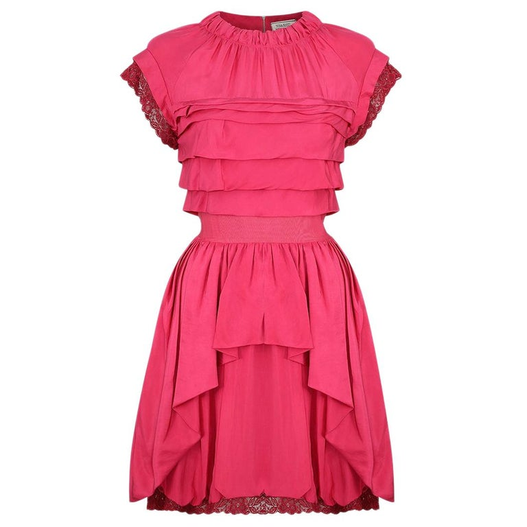 2000's Nina Ricci Deep Pink Silk Pleated dress With Lace Trim  For Sale