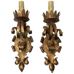 2000s Pair of Gothic Wall Sconces Gold Gilt Finish Over Wrought Iron