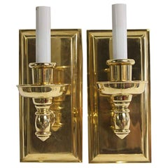 2000s Pair of Single Arm Wall Sconces Mid-Century Modern Style Heavy Cast Brass