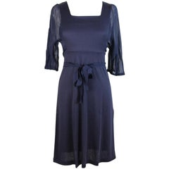 2000s Philosophy By Alberta Ferretti Blue Cotton Balloon Soft Short Dress