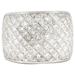 2000s Platinum with 6.65 Carat Square Cut Diamond Wide Half Wedding Band