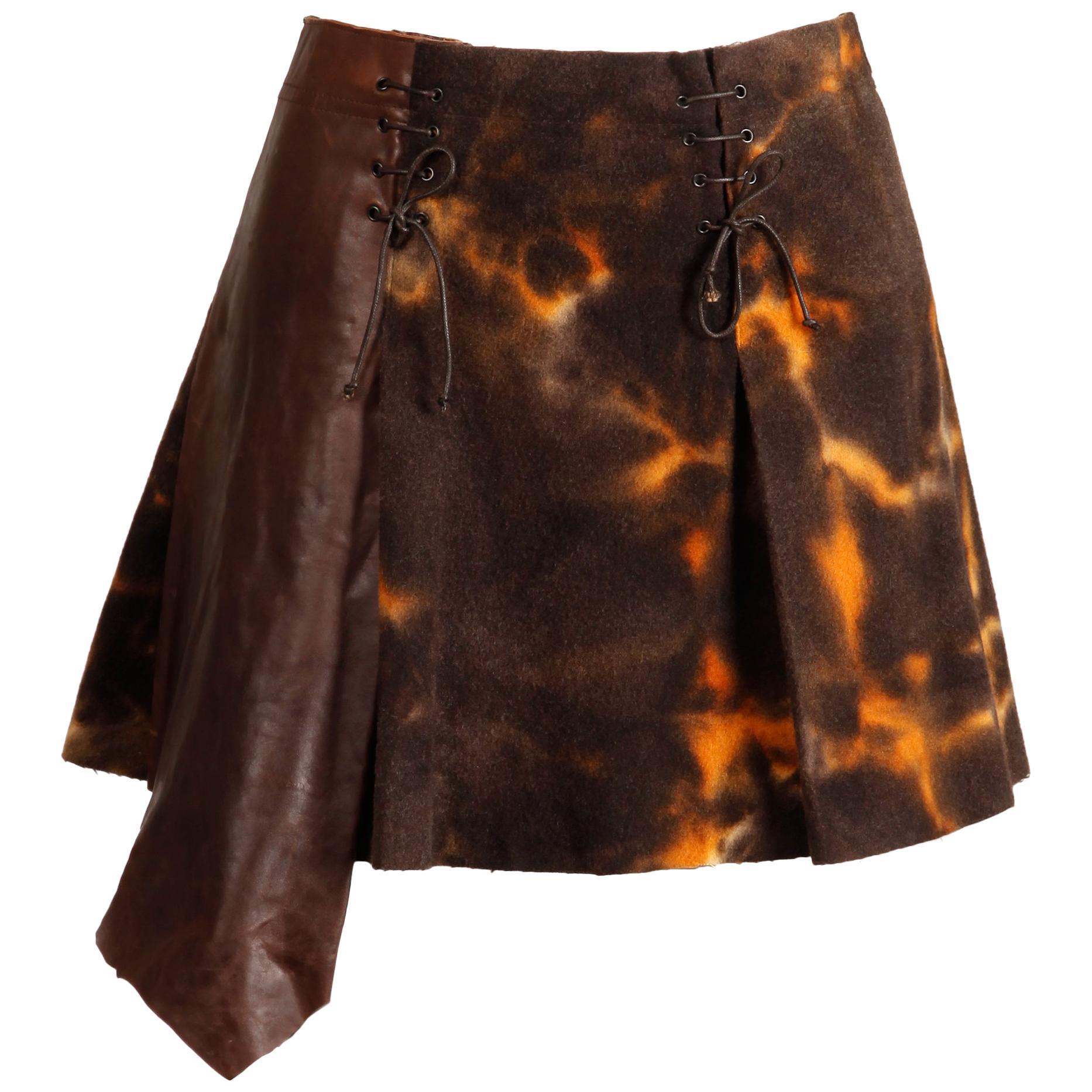 2000s Plein Sud Jeans Asymmetric Leather  Tie Dye Felted Wool Lace Up Mini Skirt