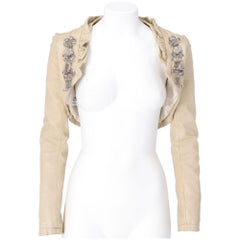 2000s Pollini beige fitted sheep leather jacket with decorative pins
