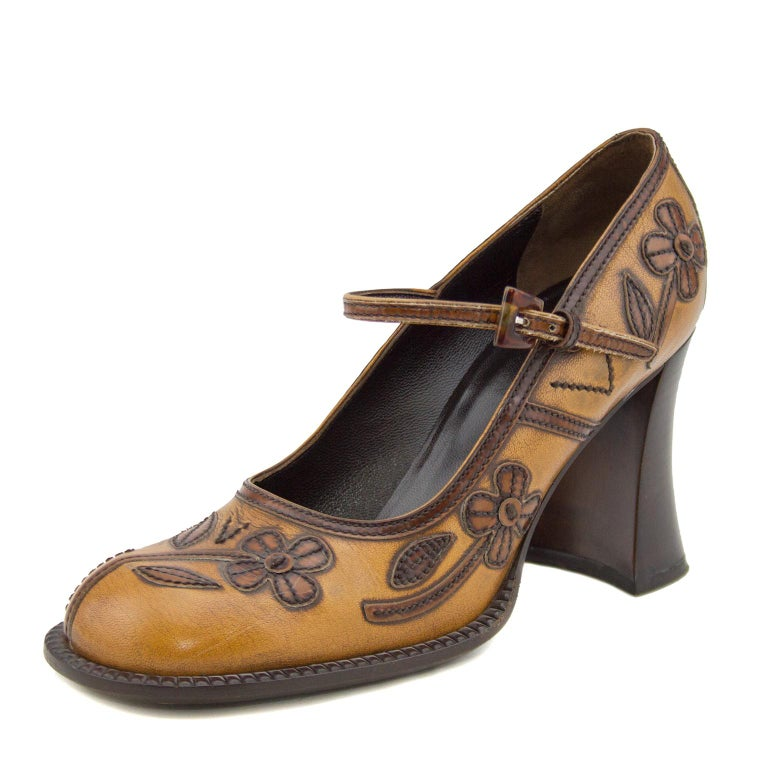 Brown 2000's Prada Appliqué Antiqued Leather Mary Janes For Sale