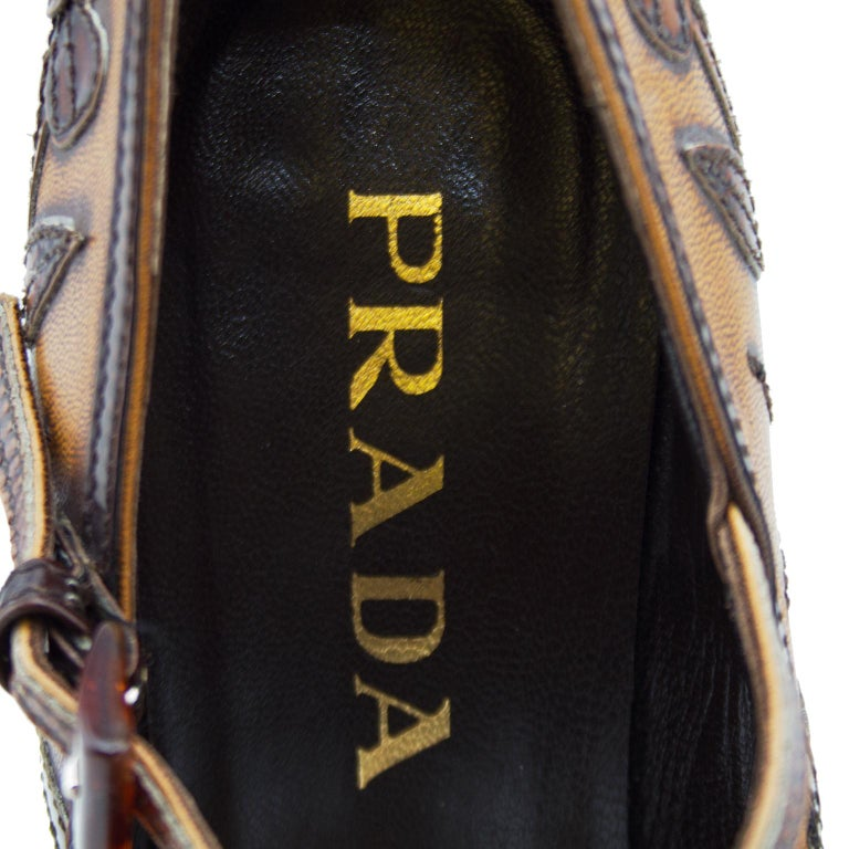2000's Prada Appliqué Antiqued Leather Mary Janes For Sale 1