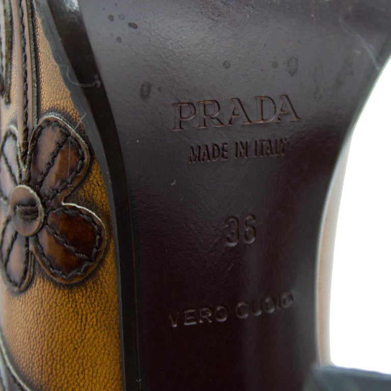 2000's Prada Appliqué Antiqued Leather Mary Janes For Sale 2