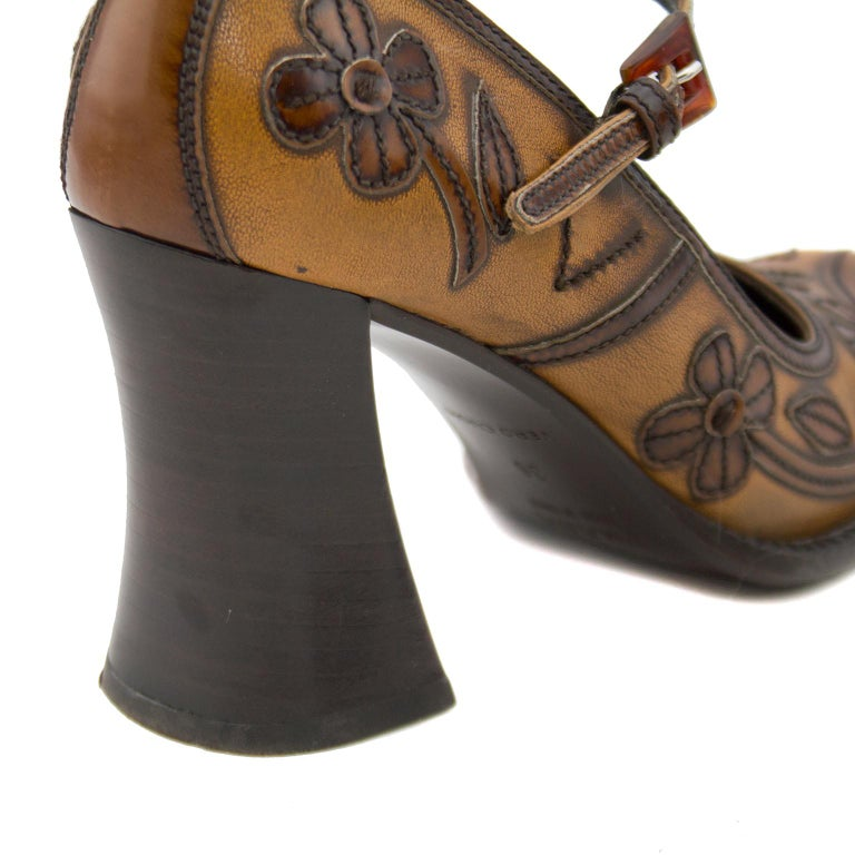 2000's Prada Appliqué Antiqued Leather Mary Janes For Sale 3