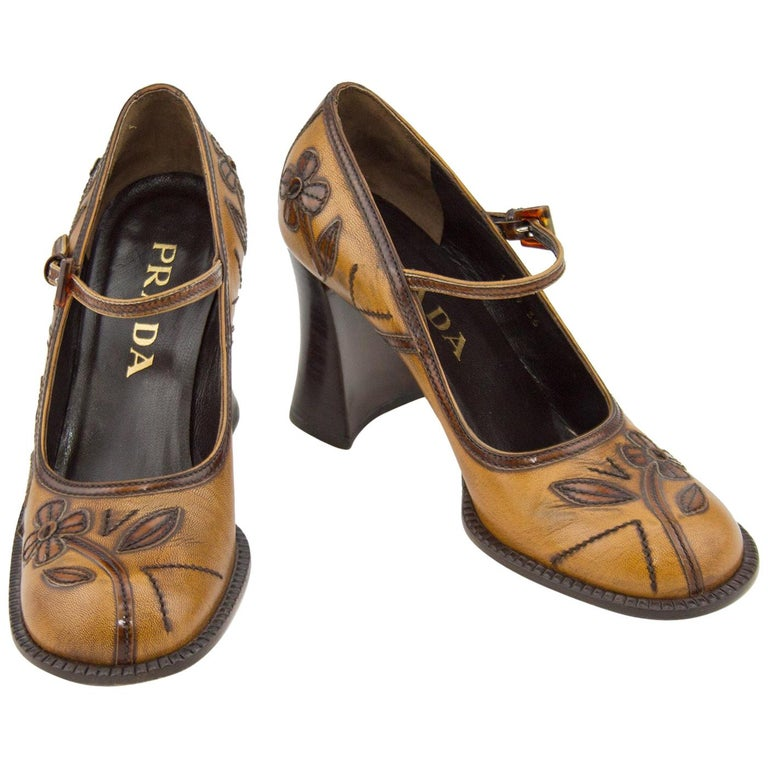 2000's Prada Appliqué Antiqued Leather Mary Janes For Sale