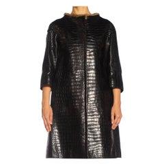 2000S PRADA Black Alligator Leather Straight '60S Cut Coat With Mink Trim