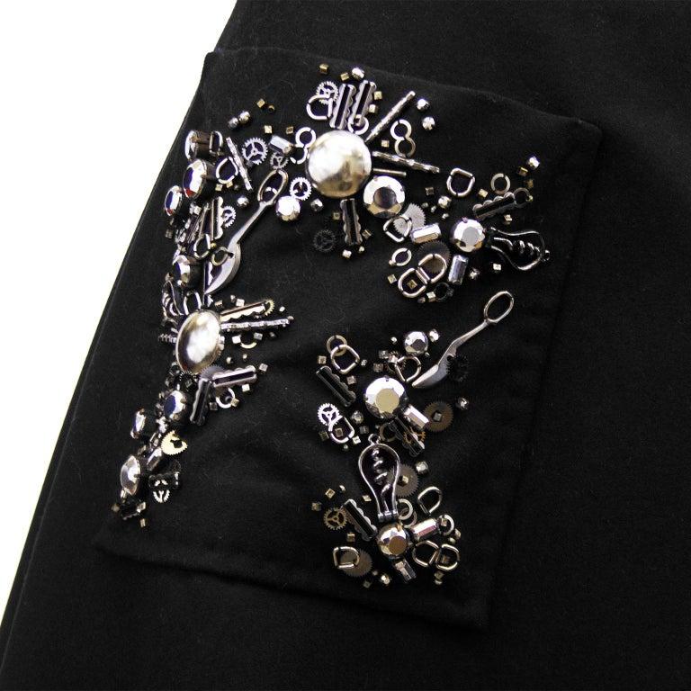 Women's 2000s Prada Black Hand Beaded Embellished Skirt  For Sale