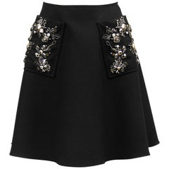 2000s Prada Black Hand Beaded Embellished Skirt