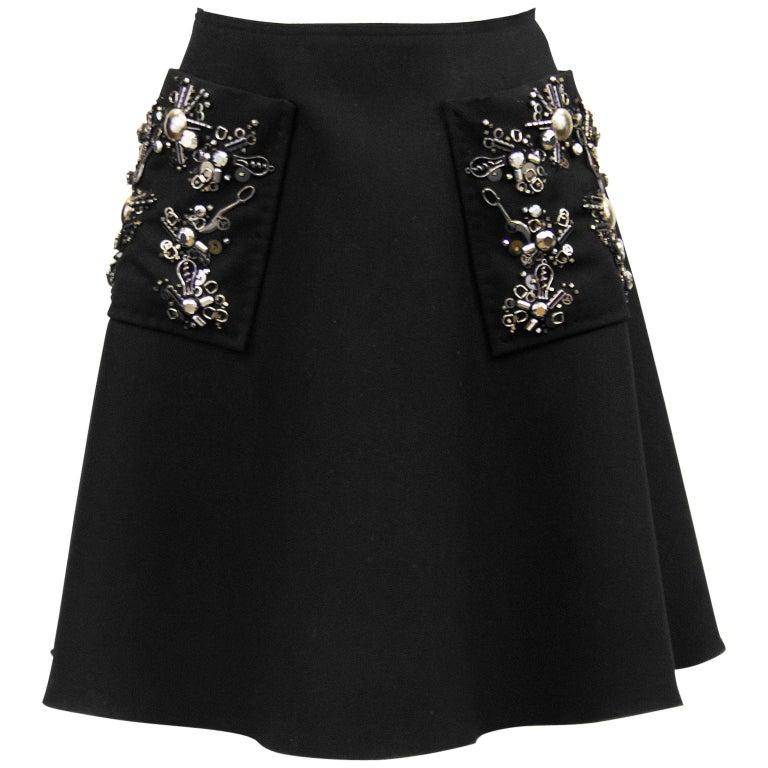 2000s Prada Black Hand Beaded Embellished Skirt  For Sale