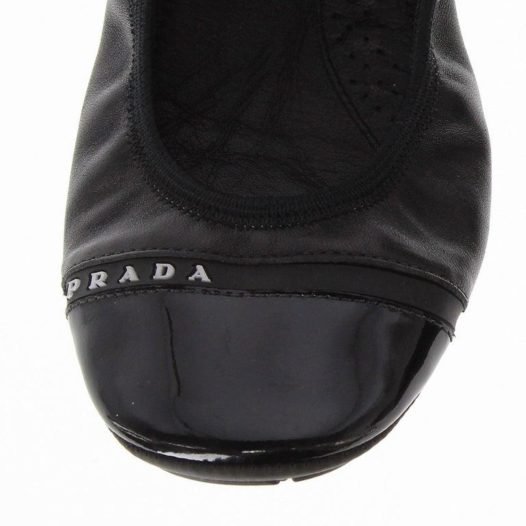 2000s Prada Black Leather Ballet Flats For Sale 7