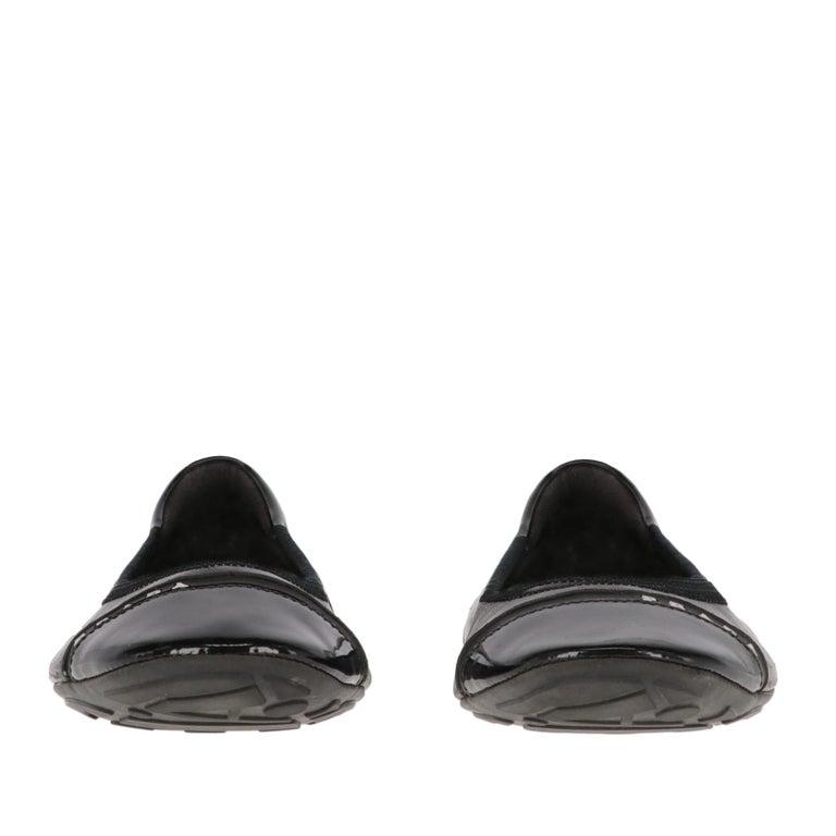 Women's 2000s Prada Black Leather Ballet Flats For Sale