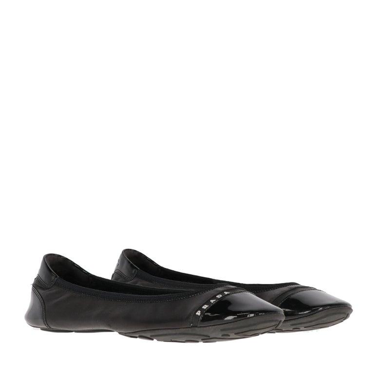 2000s Prada Black Leather Ballet Flats For Sale 1