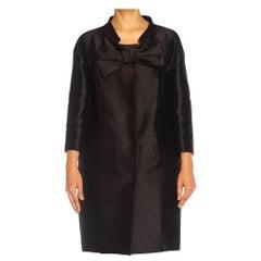 2000S PRADA Black Silk & Nylon Oversized Balenciaga Style Opera Coat With Giant
