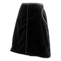 2000s Prada Black Velvet Cotton A Line Skirt