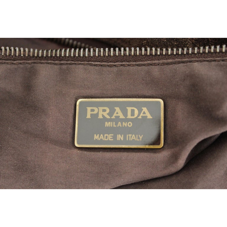 2000s Prada Brown Leather Suede Vintage Handbag Shopper  For Sale 5