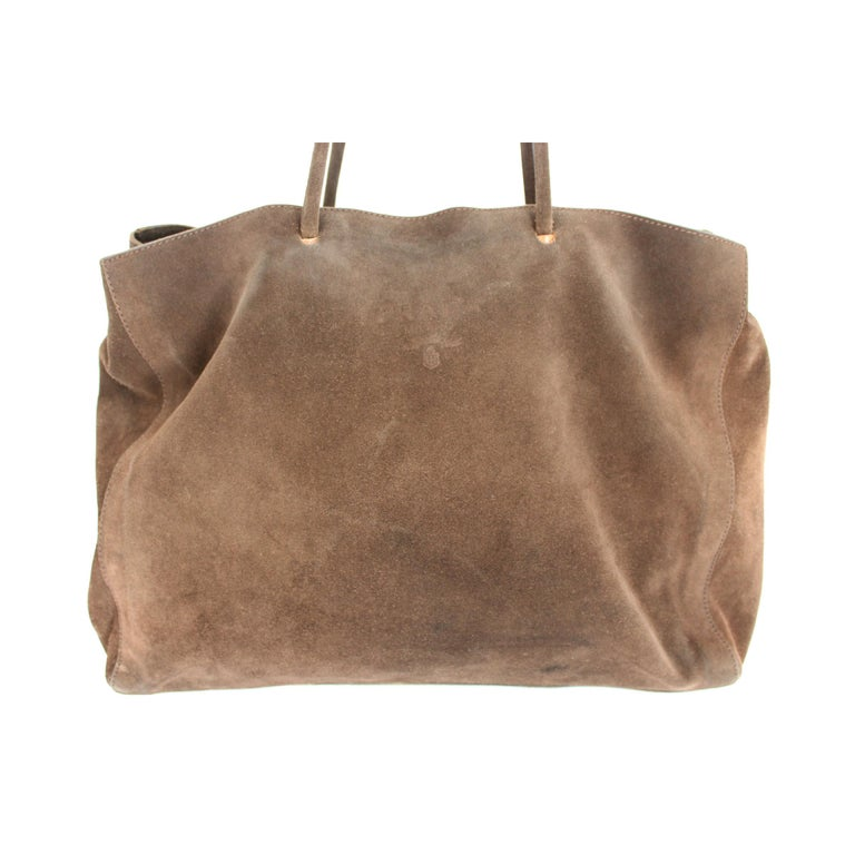 2000s Prada Brown Leather Suede Vintage Handbag Shopper  In Good Condition For Sale In Brindisi, Bt