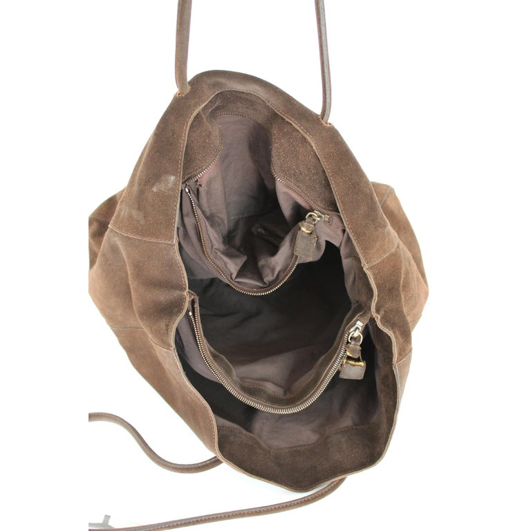 2000s Prada Brown Leather Suede Vintage Handbag Shopper  For Sale 4