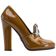 2000s  Prada Caramel Brown Patent Leather High Loafers