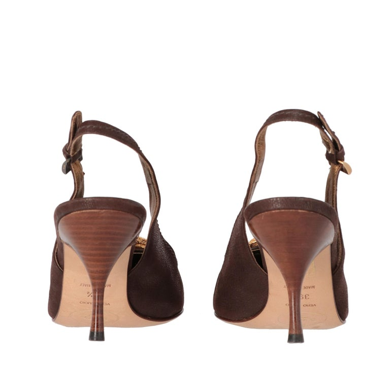 Women's 2000s Prada Leather Heeled Slingback Shoes