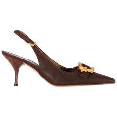 2000s Prada Leather Heeled Slingback Shoes