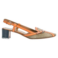 2000s Prada Leather Sling Back Shoes