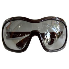 Prada 2000s Oversized Deep Maroon Shield Sunglasses