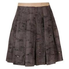 2000s Prada Pleated Brown Skirt